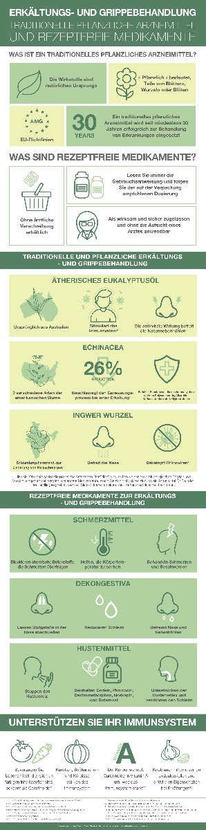 Infografik als Kurzanleitung zur Grippebehandlung