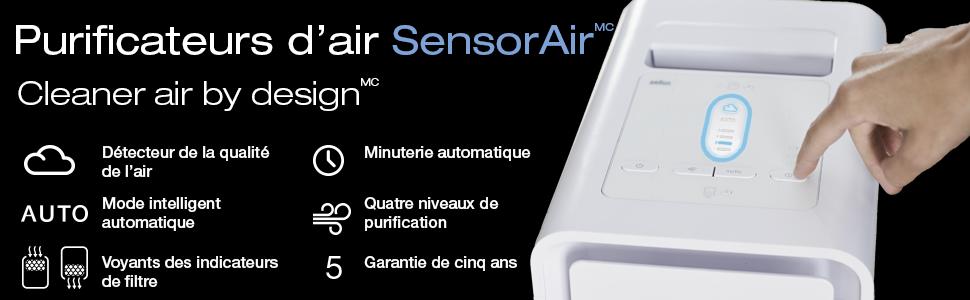 Caractéristiques du purificateur d'air SensorAir Braun