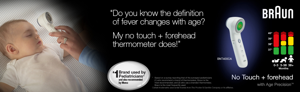 Braun BNT400CA No touch + forehead thermometer knows the definition of fever changes in with age