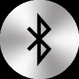 icone bluetooth sur cercle argenté