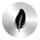 icone compact et confortable, plume noire sur cercle argenté