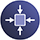 Compact design icon on blue circle