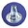 Braun hygiene caps icon on blue circle