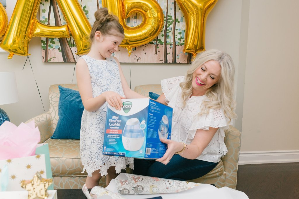 WRAP IT UP! THE VICKS MINI FILTER FREE COOL MIST HUMIDIFIER MAKES A GREAT BABY SHOWER GIFT. (PHOTO CREDIT: KRISTEN RECALIS PHOTOGRAPHY)